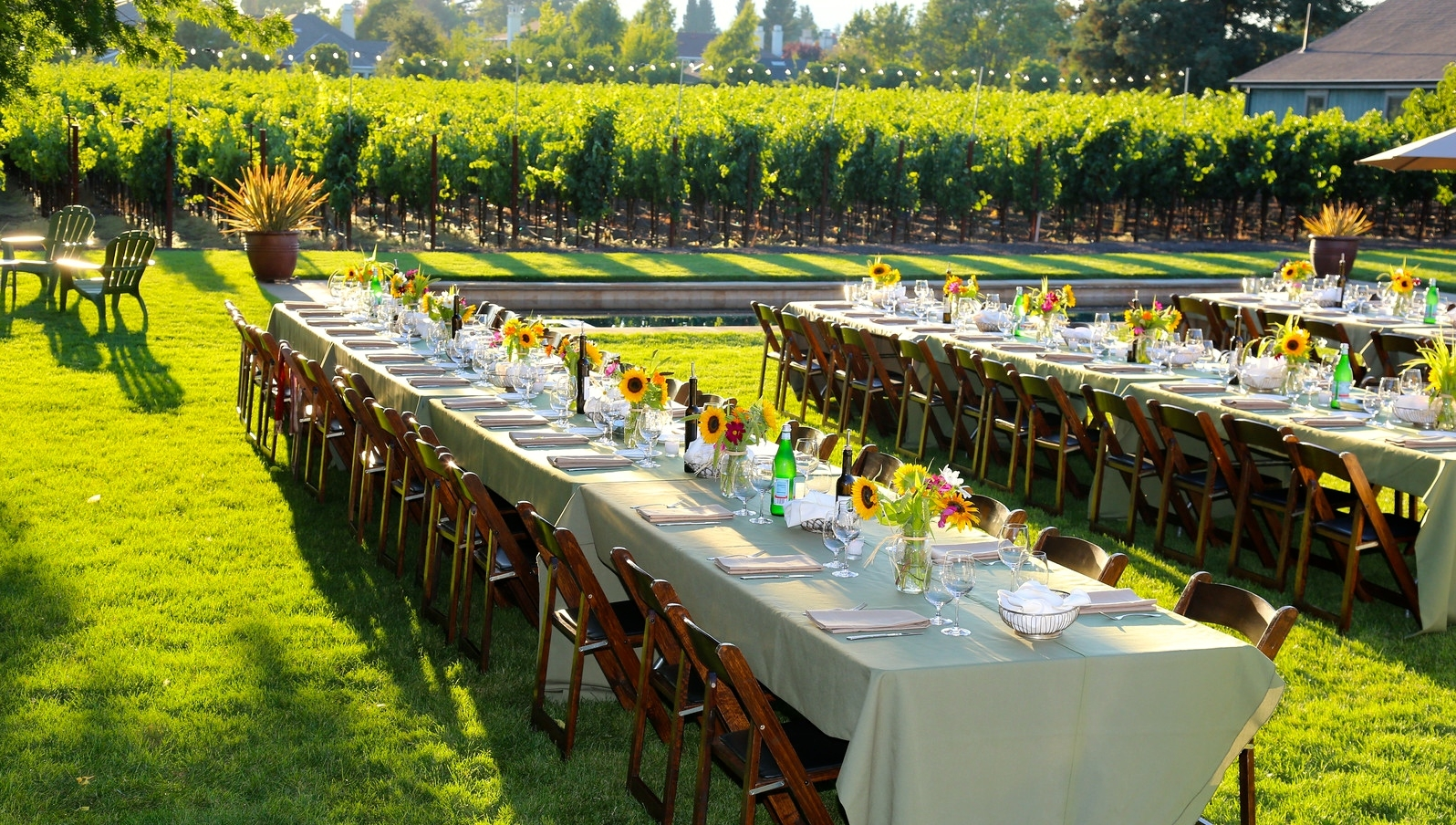 Event Tables on Lawn, Stone Barn Farm
